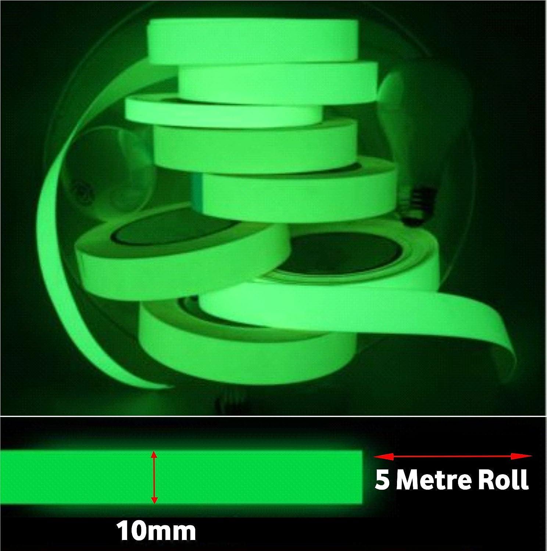 10mm Self Adhesive Photoluminescent Luminous Glow In The Dark Tape (5 Metre) A2B Shopping Ltd