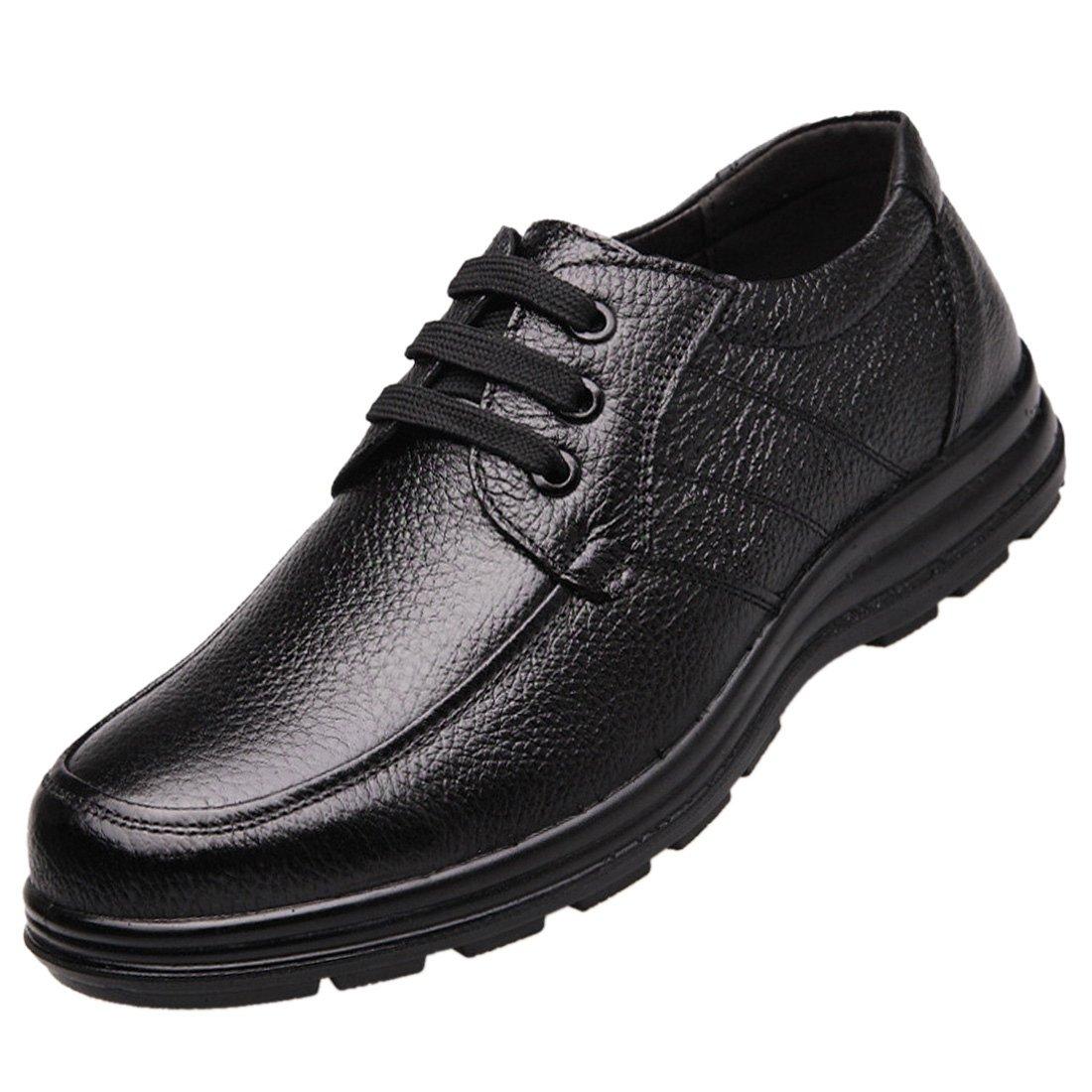 Enerhu Men Lace-up Chef Shoe Leather Flat Work Shoe Nonslip Oil Resistant Waterproof Black Asian 42/US 8.5