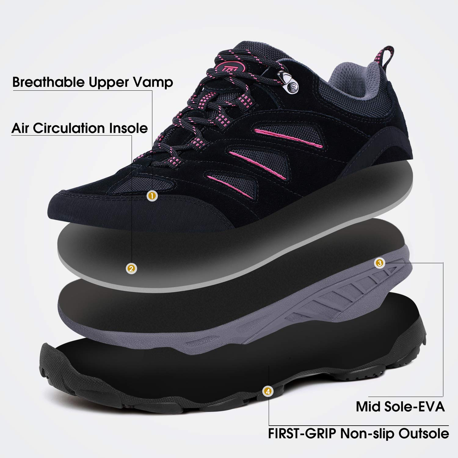 TFO Womens Air Cushion Hiking Shoe Breathable Running Outdoor Sports Trail Trekking Sneaker