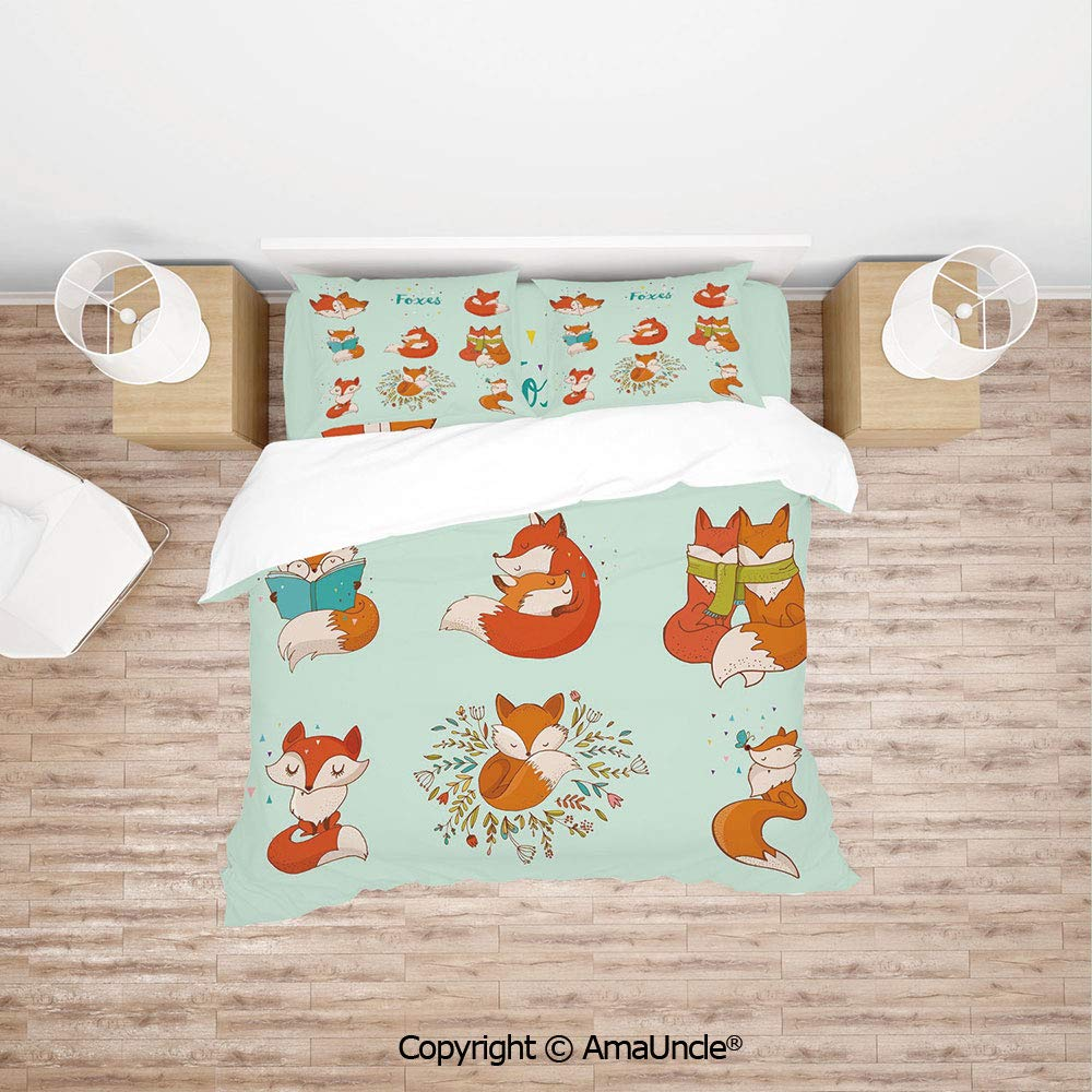 SCOCICI Lovely Fox Characters Sleeping Reading Romantic Couple Nature Collection Kids Co Simple Cover Set Bedsheet Pillowcases Bedding Set 4pc Full Size