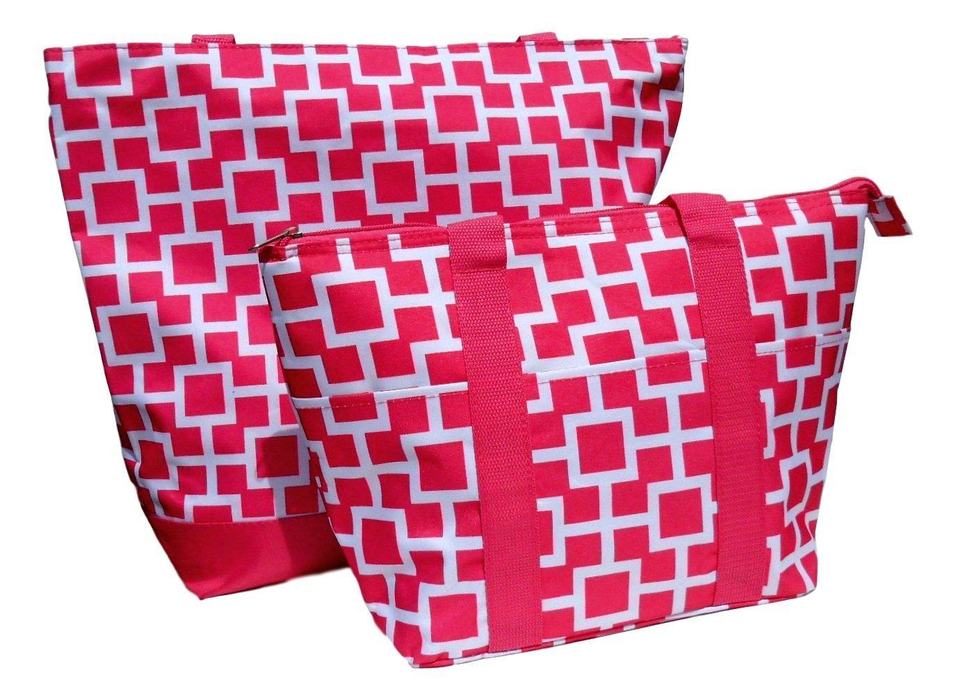 驚きの値段で Sale 2 in Pieces 1トートバッグ& B06Y4DH39X Insulated LunchボックスセットクリスマスStocking Stuffer Gift Idea 2 by TravelNut (アソートカラー) ST18LT115-1330-1 B06Y4DH39X 2 Pieces Pink Squares 2 Pieces Pink Squares, ユカワファニチュア:79501fad --- 4x4.lt