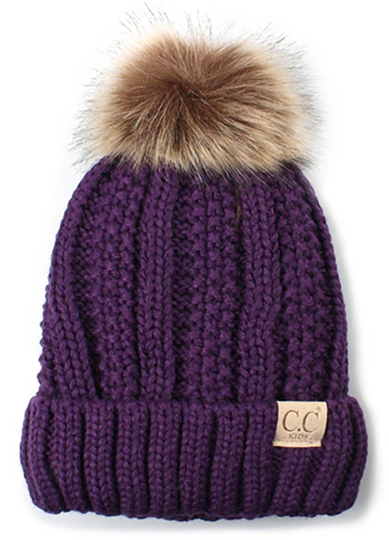 H-1820kids-40 Fuzzy Lined Pom Hat - Purple
