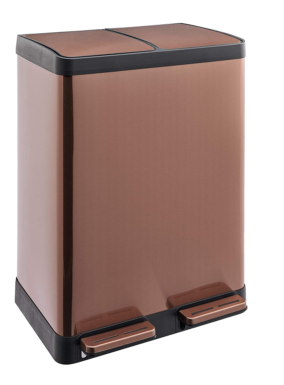 Plastic Garden Waste and Compost Kitchen Recycle Bin LIVIVO Stylish 60L Litre Stainless Steel 2 Compartment Recycling Bin Pedal Waste Trash Rubbish Glass Paper Satin Silver Cans