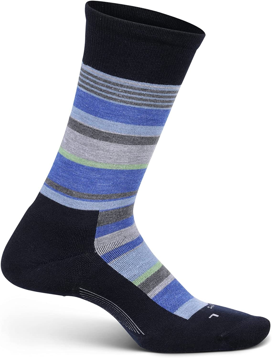 Medium Feetures Cushion BE BOLD Striped Crew Socks with Targeted Compression