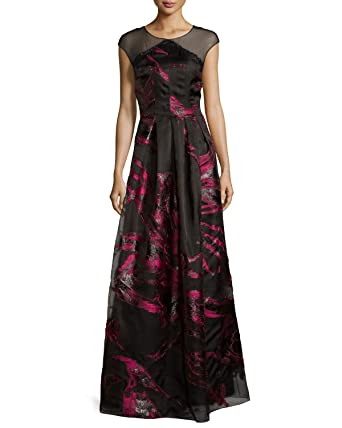 Kay Unger New York Womens Cap Sleeve Bold Illusion Fille Coupe Gown 14 Black/Pink