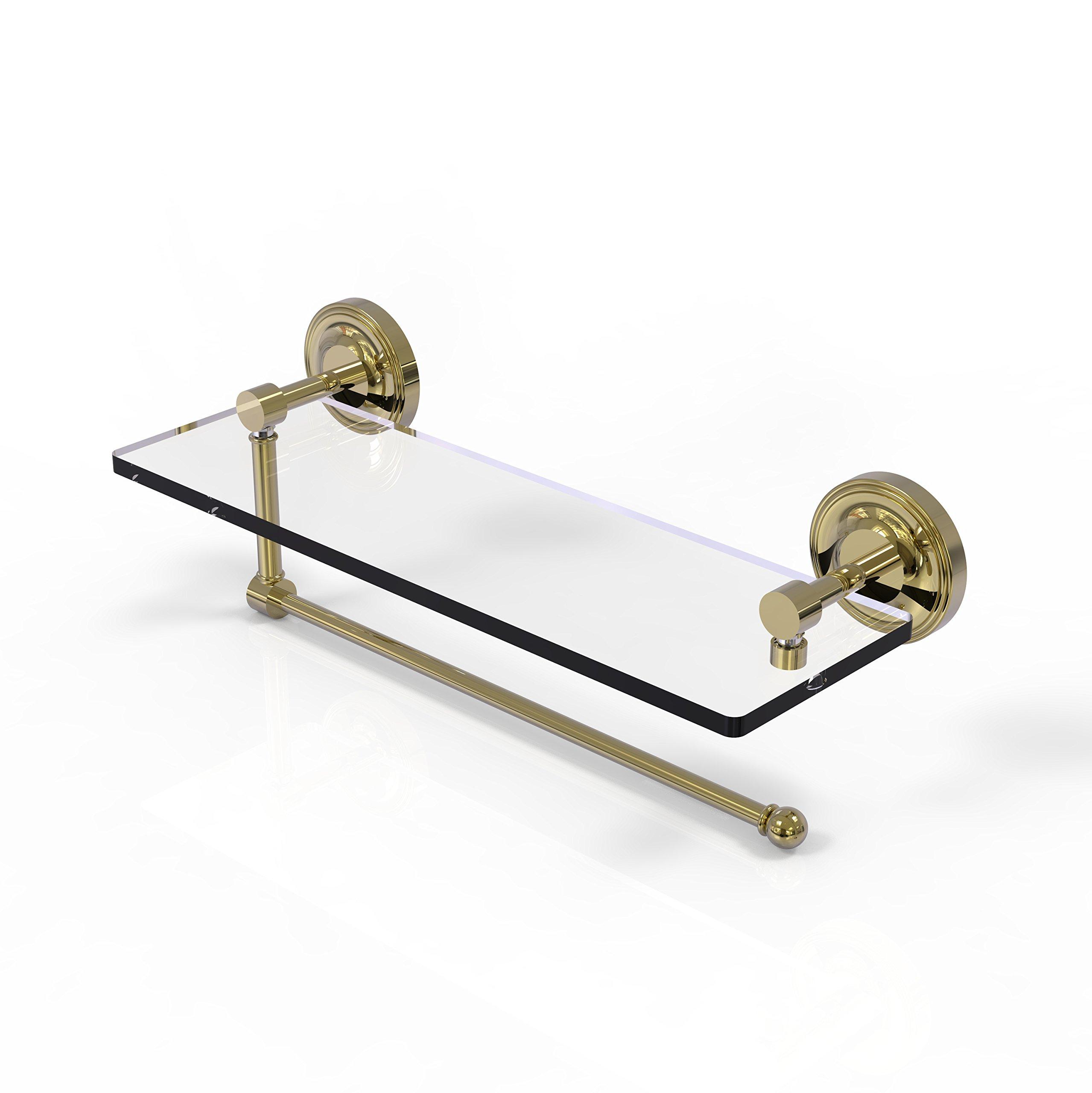 Allied Brass Prestige Regal Collection Paper Towel Holder with 16 Inch Glass Shelf PRBP-1PT/16 - Unlacquered Brass
