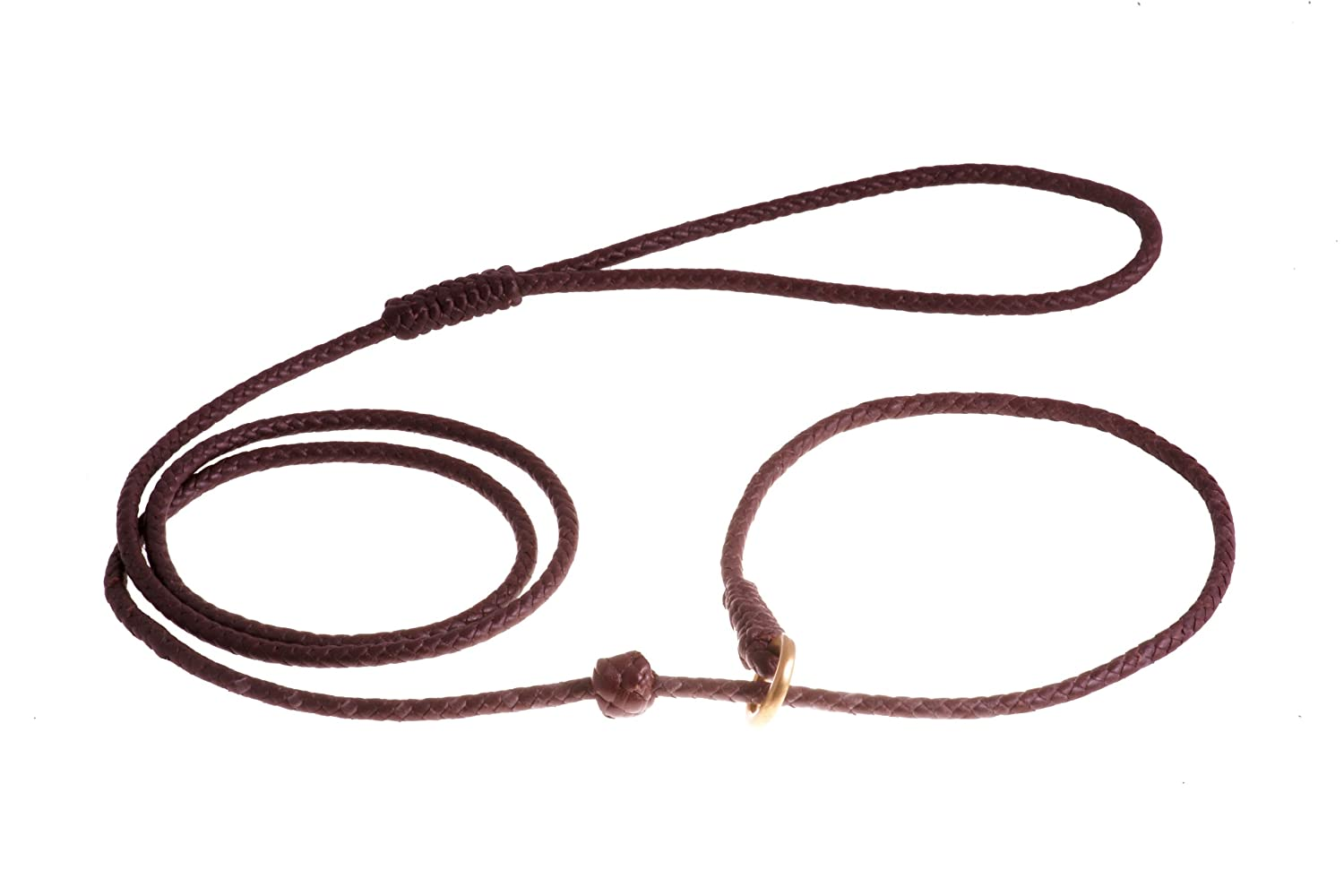 Brown Alvalley Braided Slip Lead with Stop for Dogs 4ft Thin