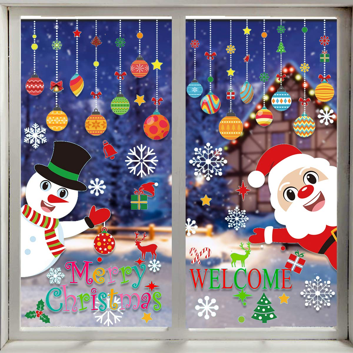 VEYLIN 118 Pieces Christmas Window Clings with Xmas Snowflakes Decals Removable