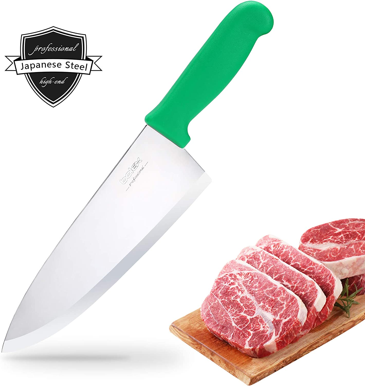 BOLEX 8 inch Stainless Steel Chef Knife/chopping knife, Professional Extra Sharp Wide Cook Knife Multi-Purpose Hand Forged Knife for Kitchen Home Restaurant (Green Handle)