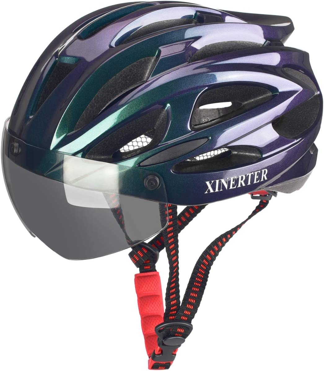 XinerTer Bike Helmet,Mountain Bike Helmets with Detachable Magnetic Goggles,Adjustable Size Road Helmets for Women and Men.CPSC/CE Certified Bicycle Helmets
