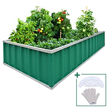 galvanized raised garden bed. Extra-thick 2-Ply Reinforced Card Frame Raised Garden Bed Kingbird Galvanized Metal Planter