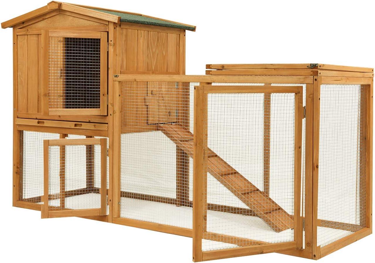 Ogrmar Chicken Coop Large Wooden Outdoor Bunny Rabbit Hutch Hen Cage with Ventilation Door, Removable Tray & Ramp Garden Backyard Pet House Chicken Nesting Box