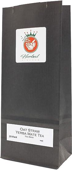 Paja de Avena Orgánico y la Yerba Mate Bolsas de Té de Hierbas (paquete de