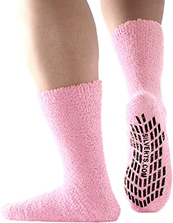 excell 6 Pairs of Womens Non Skid//Slip Diabetic Medical Socks Cotton With Rubbe