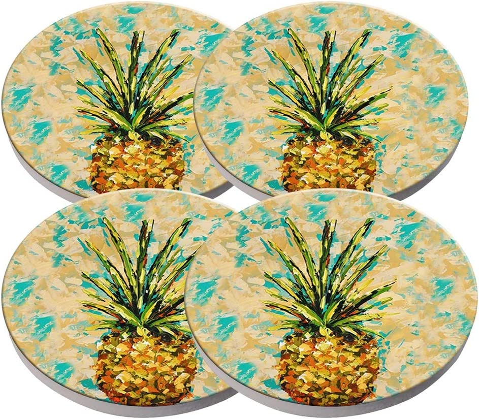 Beverage Coaster - Custom Fashion Personalized Exquisite Ceramic Coasters with Cork Liner,4 Pieces Sets - Pineapple Coasters - (Pineapple)