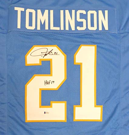 CHARGERS LADAINIAN TOMLINSON AUTOGRAPHED SIGNED BLUE JERSEY HOF BECKETT 131322