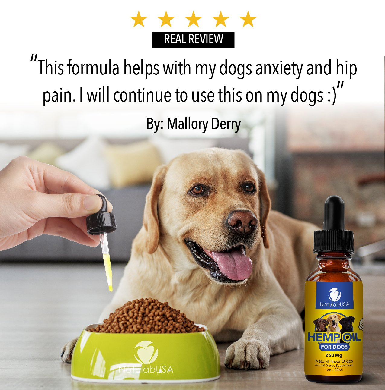 NatulabUSA - Hemp Oil For Dogs & Pets - Fast Results - Dog Anxiety & Stress  Relief - Dog Arthritis & Joint Health - APPLY TO TREATS - Separation