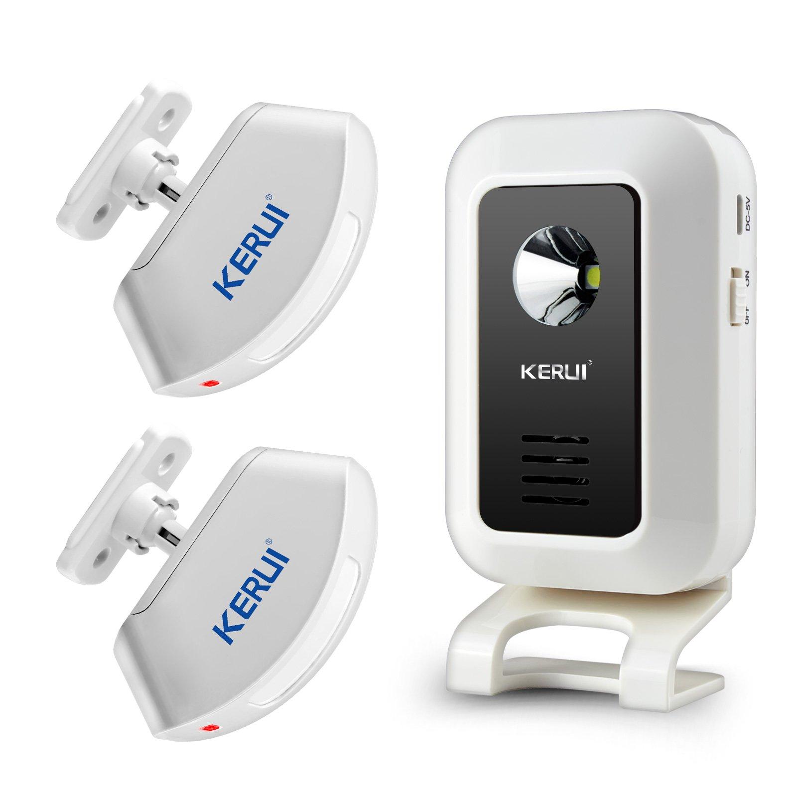 KERUI Wireless Welcome Door Bell Alarm Chime Kit-1 Receiver,2 Motion Sensor Detectors,Monitor Alert Detect Security Entry Doorbell Home Shop Store Visitor