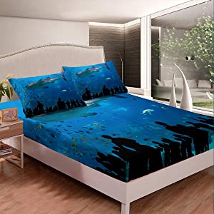 Feelyou Shark Fitted Sheet Set,Japanese Aquarium Park Bedding Set,Underwater World Duvet Cover Marine Life Ocean Theme Bedroom Gift Collection Bedroom,Decorative Bed Cover 2 Pcs TwinXL Size