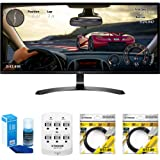 "LG 34"" WFHD (2560x1080) 21:9 UltraWide IPS, Sleek Cut Freesync Monitor (34UM59-P) with Universal Screen Cleaner for LED TVs Large Bottle, 6 Outlet Wall Tap w/ 2 USB Ports & 2x 6 ft HDMI Cable"