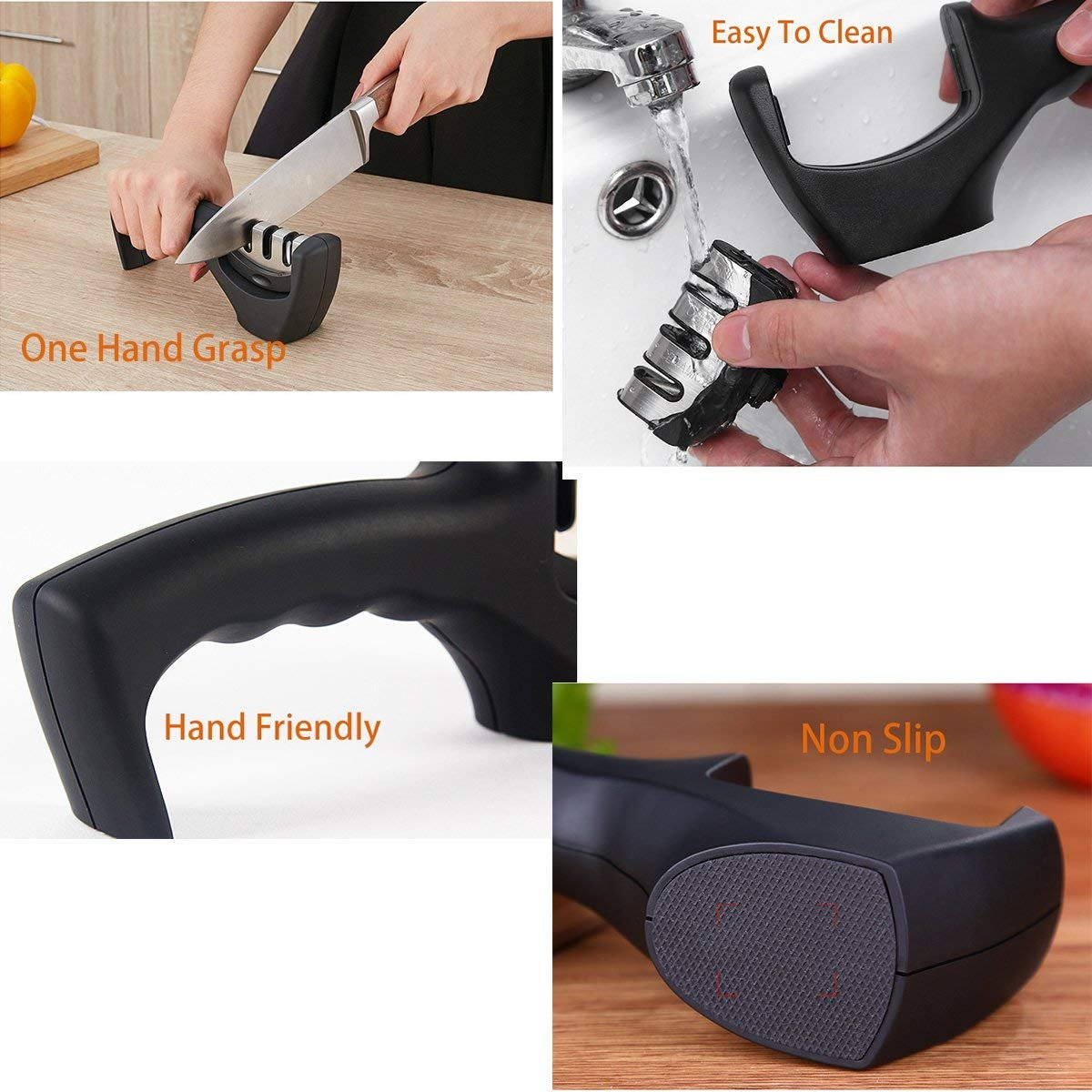 Knife Sharpener- Professional Kitchen Knife Sharpener 3 Stage Steel Diamond Ceramic Coated Kitchen Sharpening Tool with Cut Resistant Glove - Non-slip Base Chef Knife Sharpening Kit Easy to Control by HKSH (Image #4)