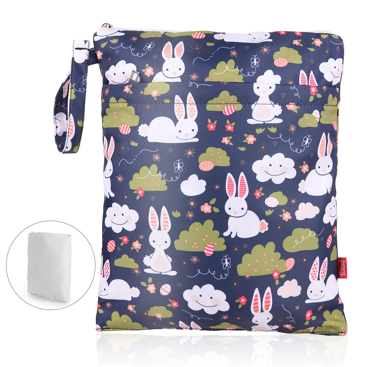 Waterproof Wet Dry Bag Double Layer Reusable Cloth Diaper Wet Bag with Waterproof Liner and Zippered Pocket for Diapers, Laundry, Swimsuits and Dirty Cloth, Rabbit