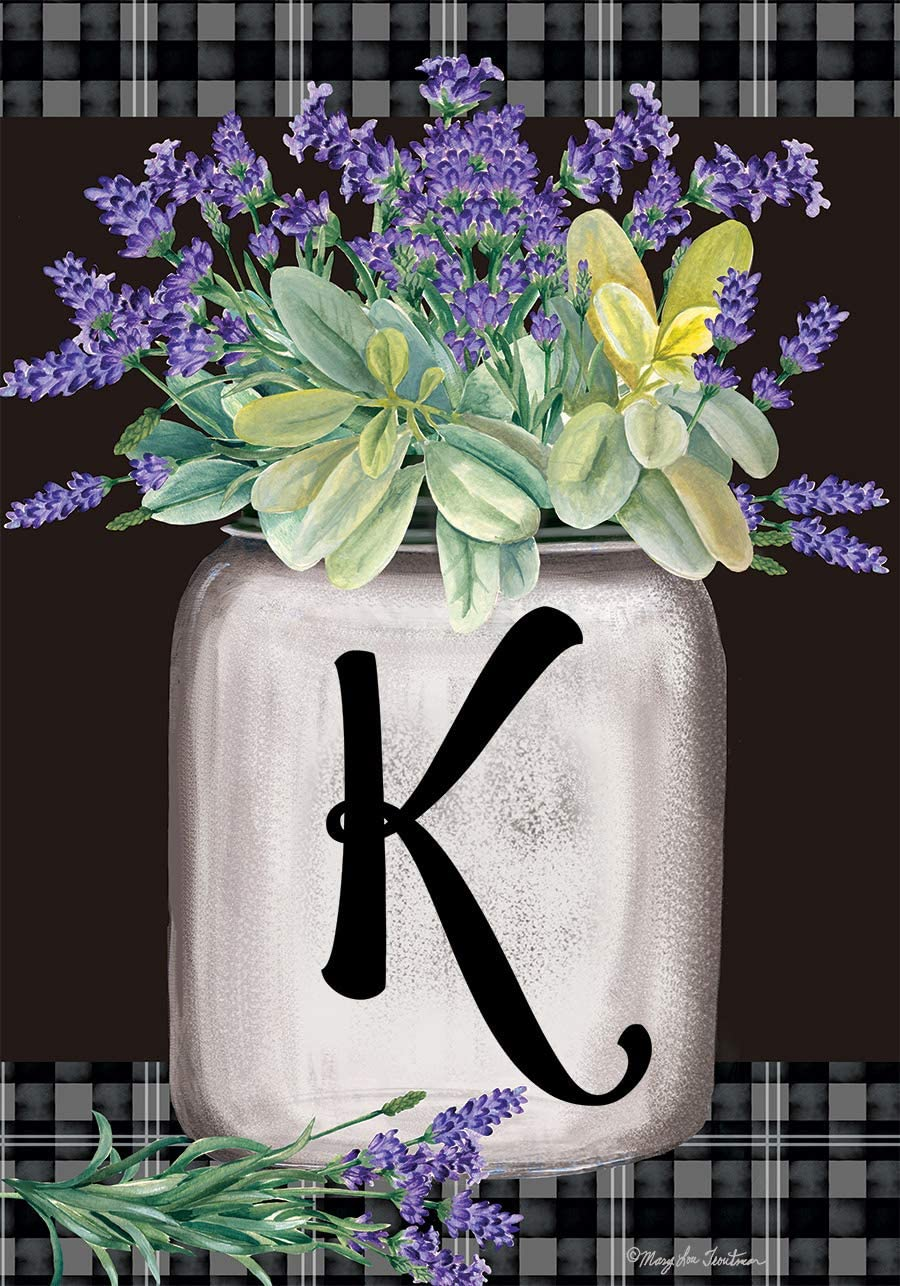 Briarwood Lane Farmhouse Monogram Letter K Garden Flag Floral 12.5