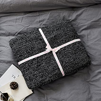 Prime Lakemono 100 Cotton Knit Throw Blanket Super Soft Fish Bone Pattern Bedroom Couch Sofa Cover Quilt Black And White 71 X 79 Machost Co Dining Chair Design Ideas Machostcouk