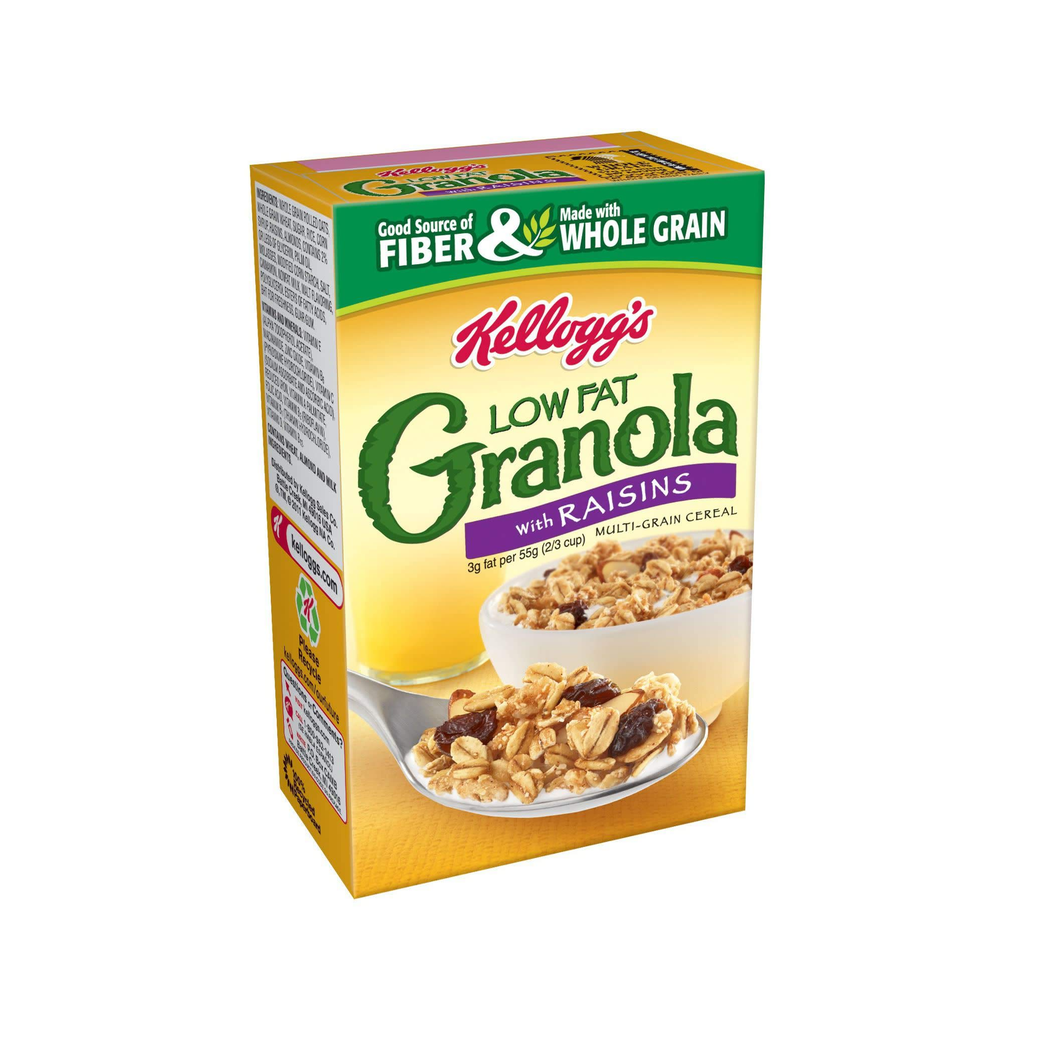 Kellogg's Breakfast Cereal, Low Fat Granola with Raisins, Low Fat, Good Source of Fiber, Single Serve, 2.2 oz Box(Pack of 70) by Kellogg's (Image #4)
