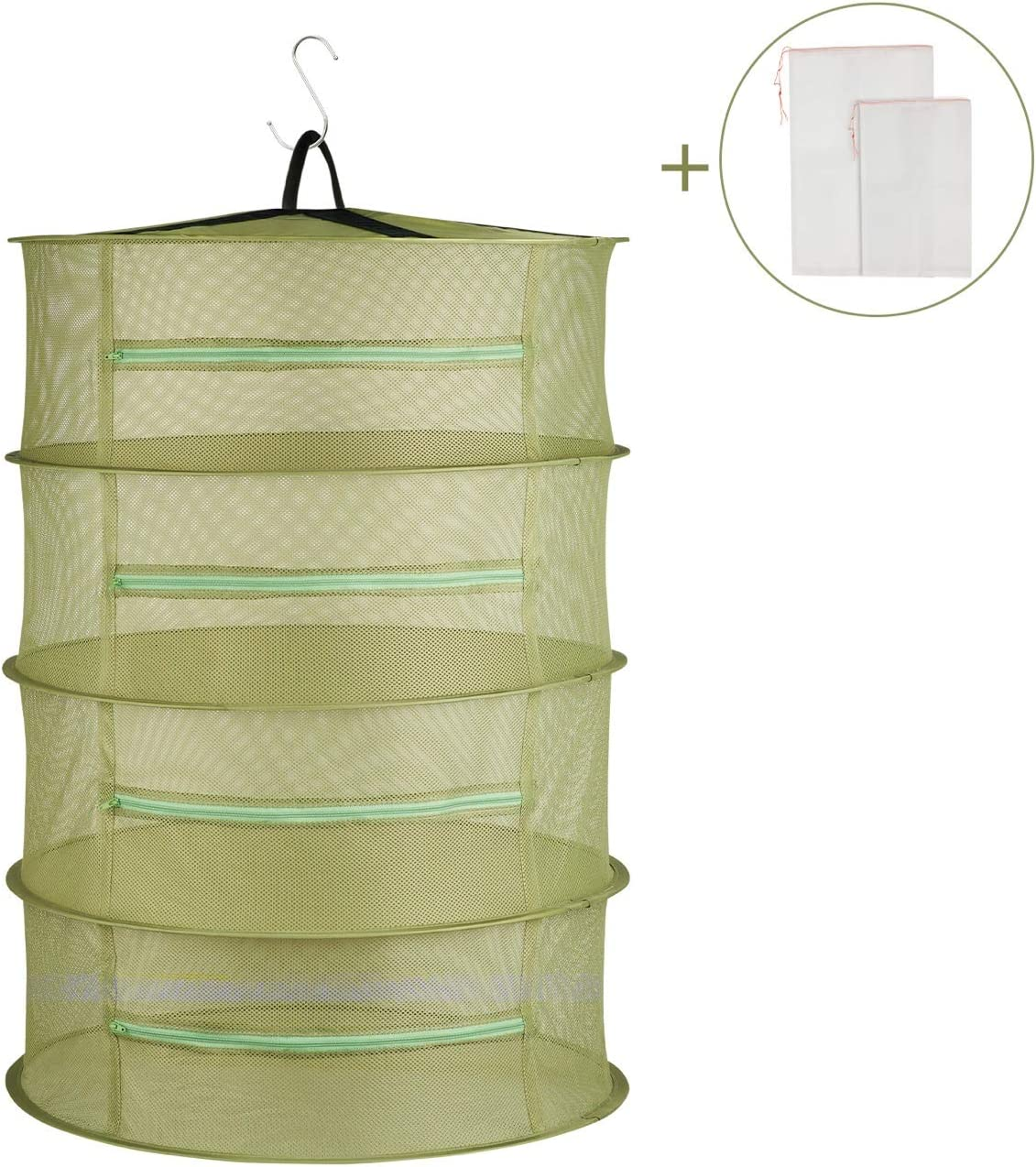JMLior Herb Drying Rack Hanging Collapsible Drying Mesh 2ft 4 Layer Dryer Basket Net for Plant Hydroponics Flowers Vegetables Olive Green and Bonus Mesh Storage Bag