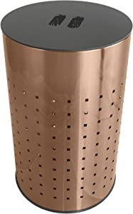 Brushed Copper Laundry Bin & Hamper | 50L Ventilated Stainless Steel Clothes Basket with MDF Lid | Life Time Warranty| (Brushed Copper)