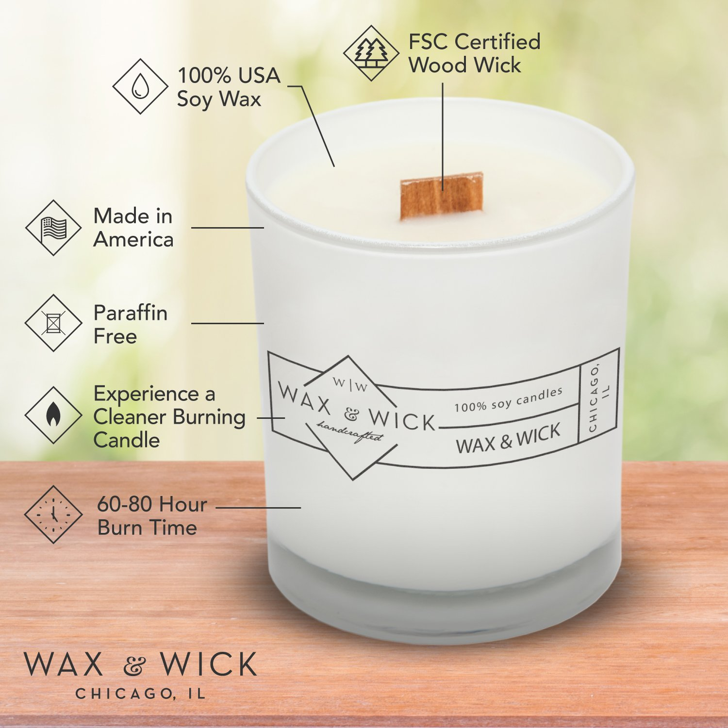 Scented Soy Candle: 100% Pure Soy Wax with Wood Double Wick | Burns Cleanly up to 60 Hrs | Mulled Cider Scent - Notes of Apple, Nutmeg, Vanilla, Caramel. | 12 oz Black Jar by Wax and Wick by Wax & Wick (Image #9)