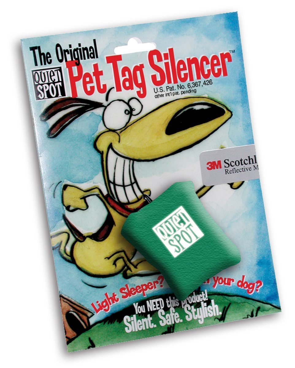 Green Quiet Spot Pet Tag Silencer Green