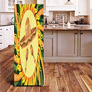 Angel-LJH Mexican 3D Door Fridge DIY Stickers,Sombreno Hat and Maracas in The Centre of Sun Figure Hippie Style Boho Home Door Cover Refrigerator Stickers for Home Gift Souvenir,24x59