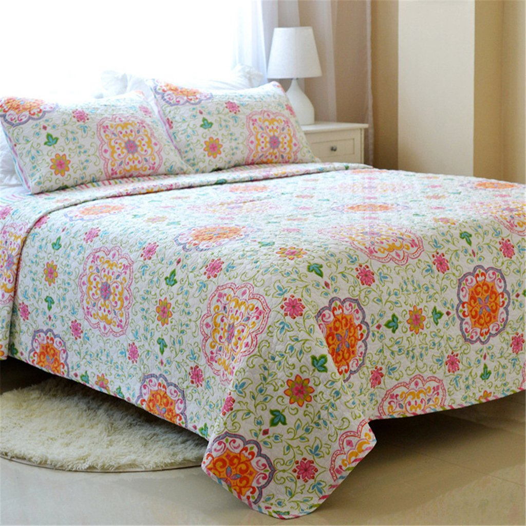 Floral Printing 3 Piece Cotton Bedspread Quilt Sets Queen