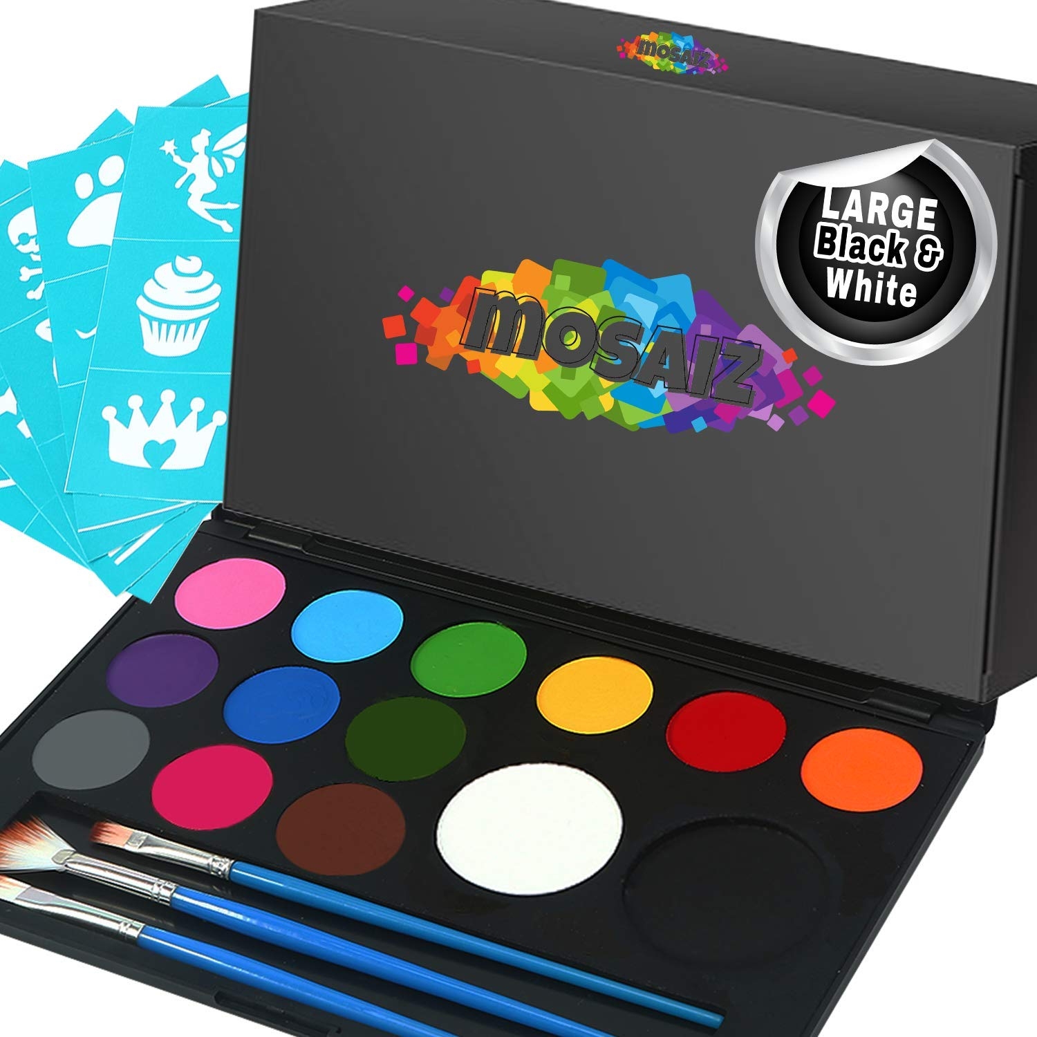Face Paint Kit Non-Grease 14 Colors with Large Black and White, 3 Brushes, 30 Stencils Water-Based Face and Body Paints Kit for Kids or Professional - Safe Facepainting for Sensitive Skin