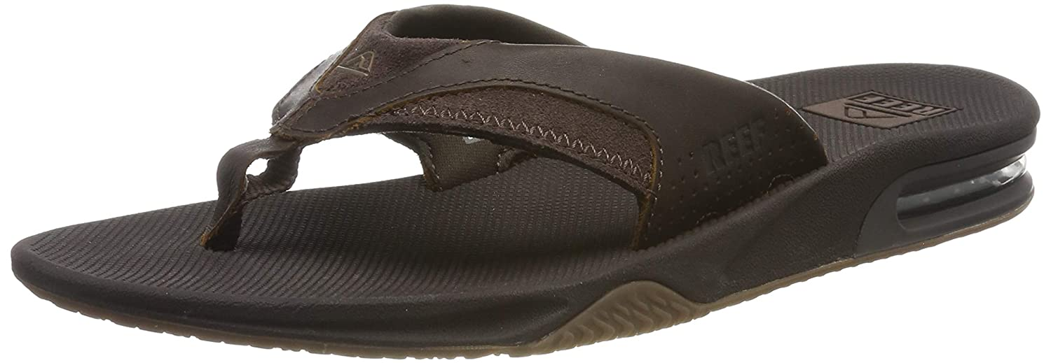 Reef Leather Fanning, Chanclas para Hombre, Marrón (Dark Brown Dab), 45 EU