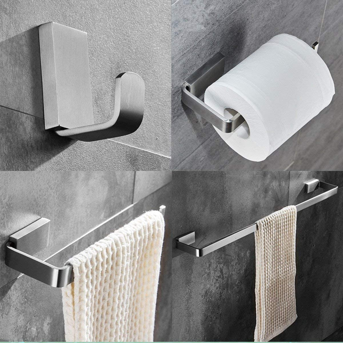 ELLO&ALLO Brushed Nickel Bathroom Hardware Set,Stainless Steel Towel Bar Wall Mounted Bath Accessories Set: Home & Kitchen