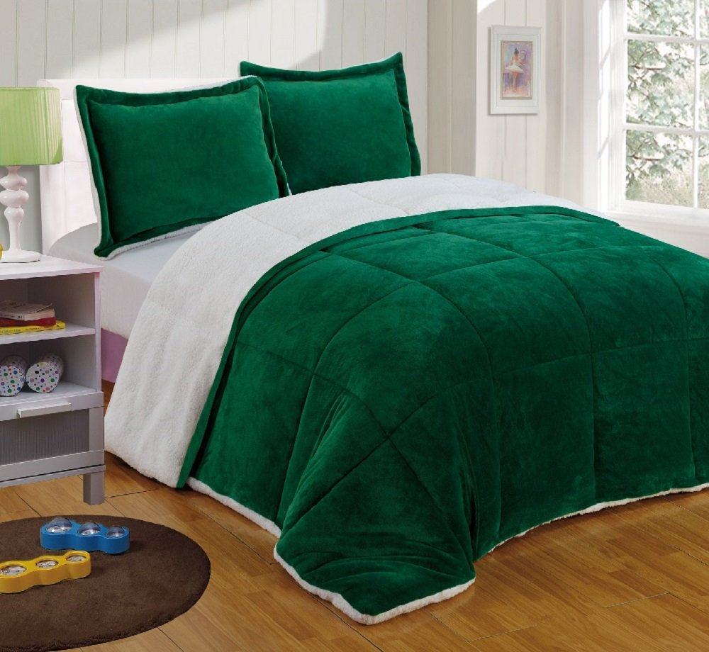 Sherpa Reversible Down Alternative Comforter Set (King, Hunter Green