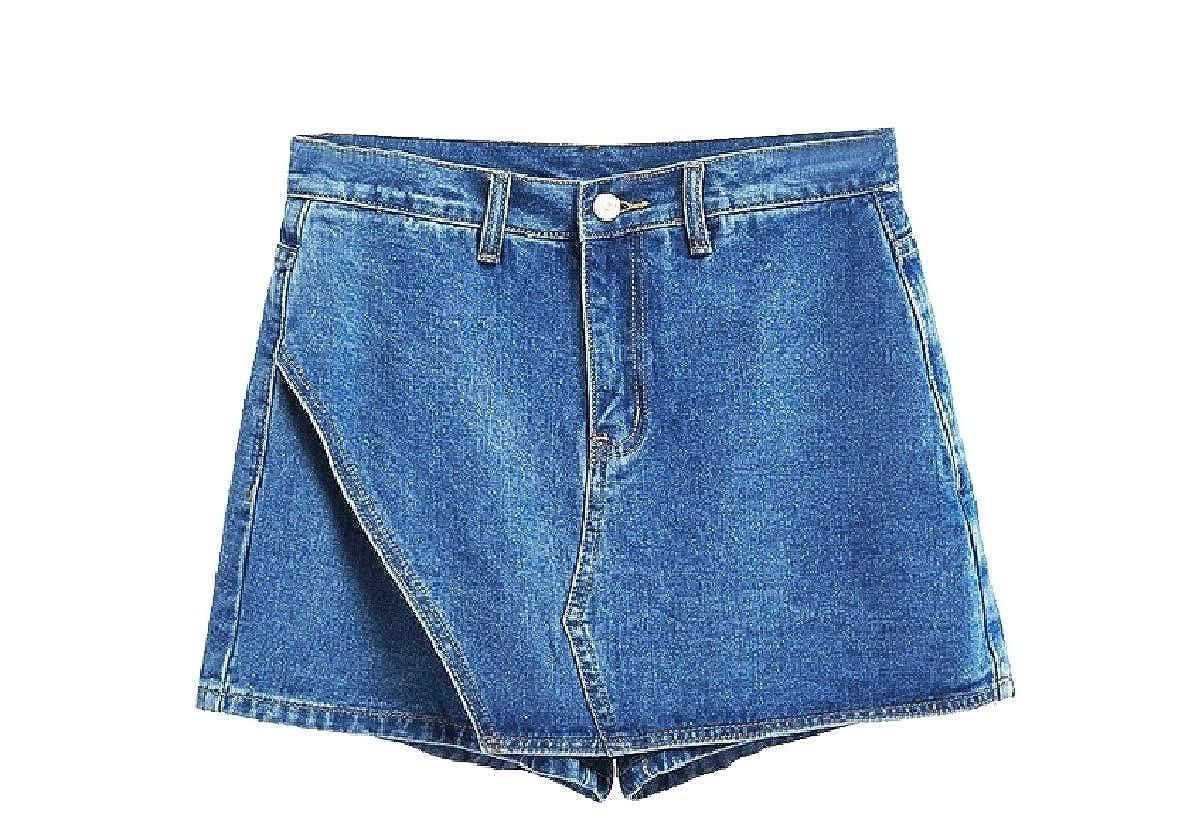Zimaes-Women Short Washed Asymmetrical Skorts Patchwork Jeans Short