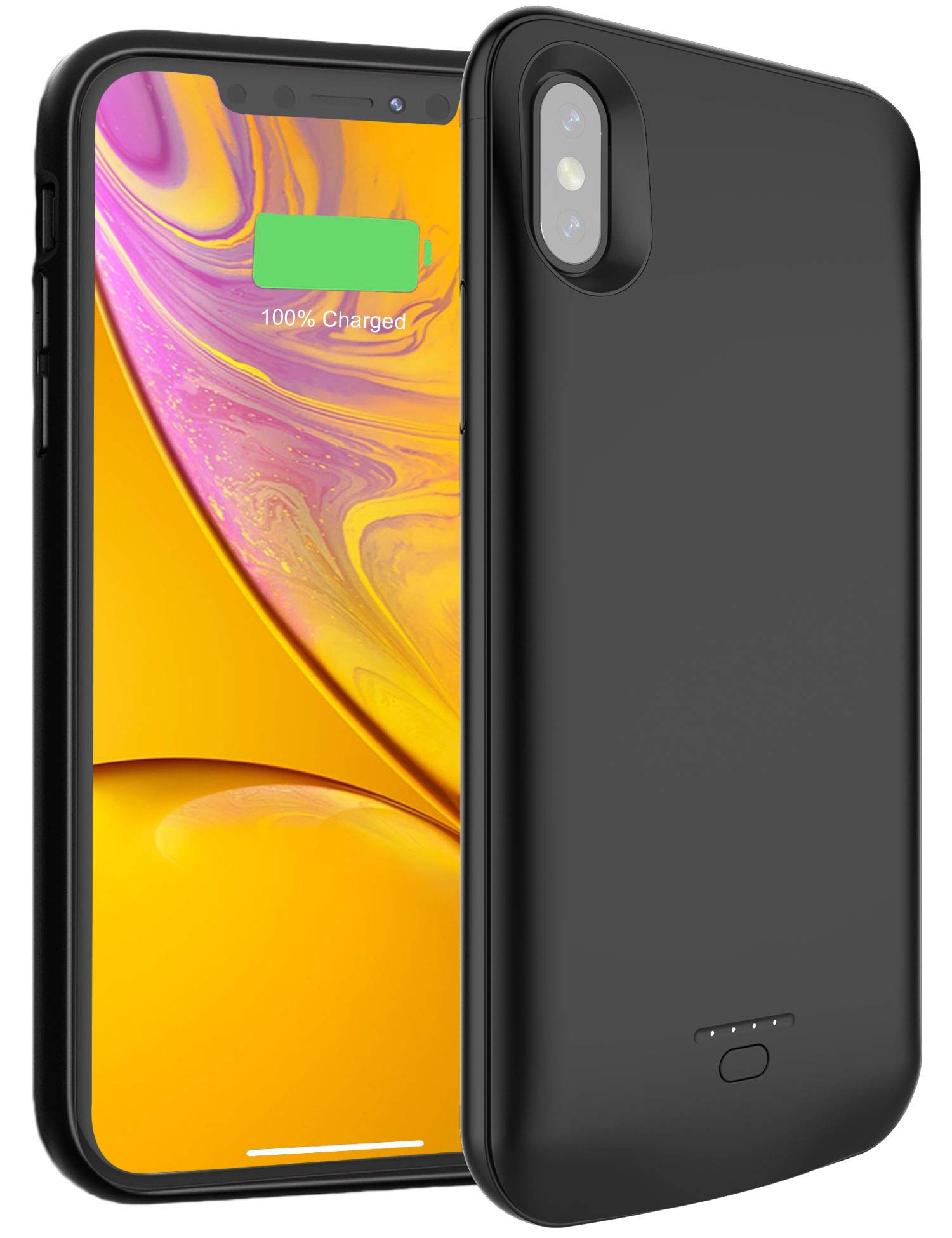 TREEZITEK Battery Case for iPhone X iXs,4000mAh Portable Protective Charging Case Extended Rechargeable Battery Pack Charger Case Compatible with iPhone Xs iX,Black