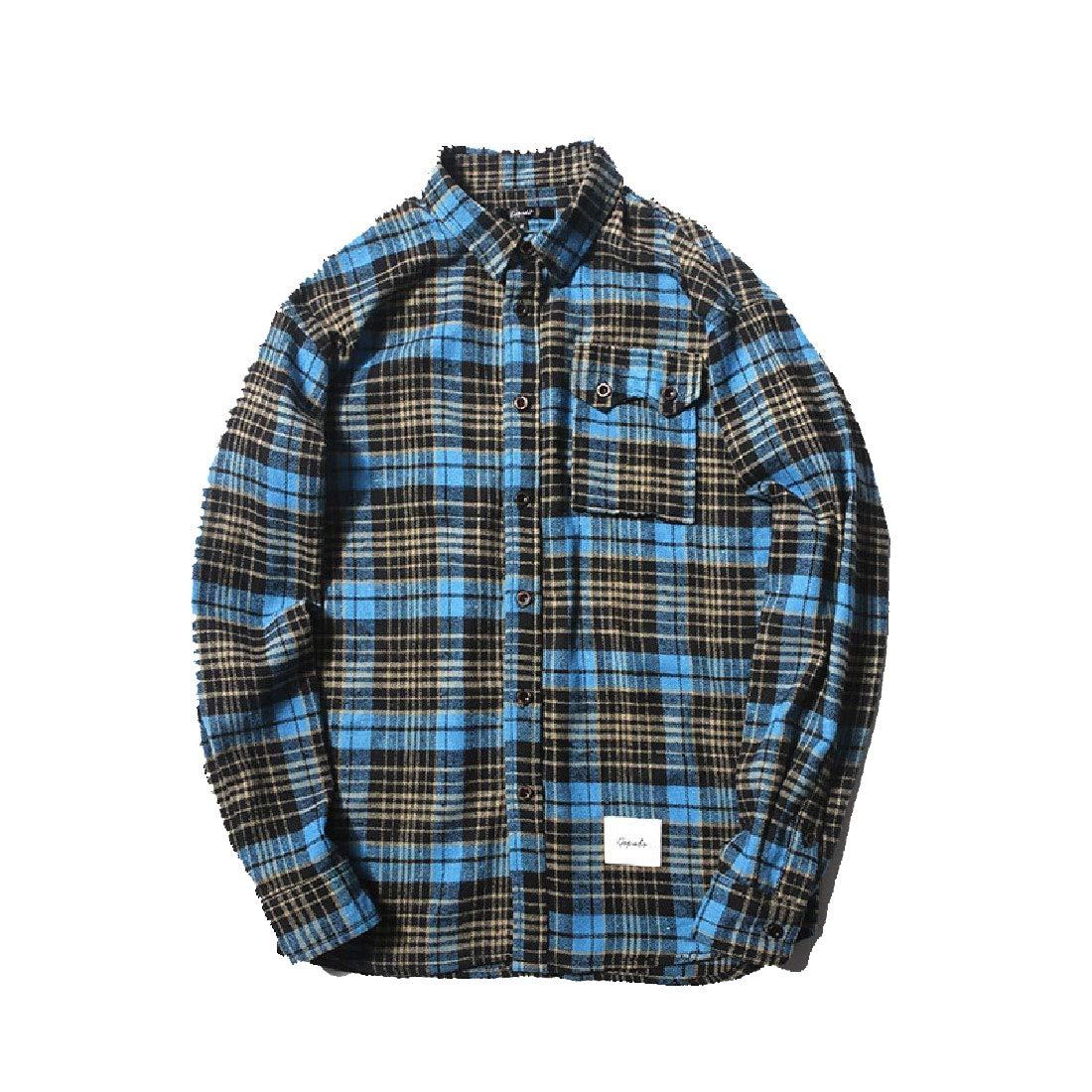 Winwinus Mens Cotton Classic Plaid Fall Fold-Collar Long-Sleeve Shirt