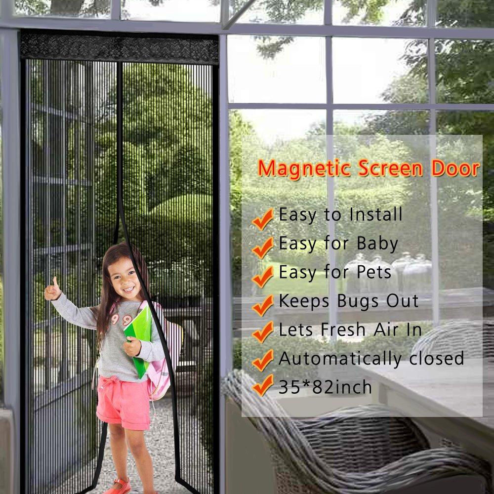 Kumeda Magnetic Mesh Bug Screen Door Full Frame Velcro Fits Door