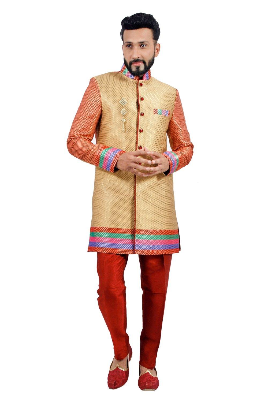 Designer Short Multicolored Indian Wedding Indo-Western Sherwani for Men