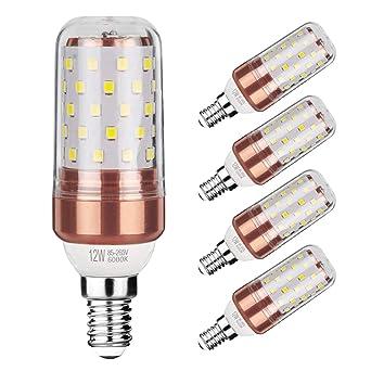 Gezee LED maíz bombilla 12W E14 6000K blanco frío LED Candelabros bombillas, 100 W bombilla