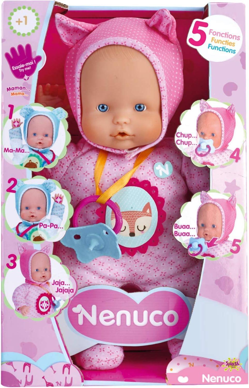 Nenuco de Famosa- 700014781 Muñeco Blandito 5 funciones, Color rosa