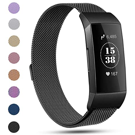 Replacement Compatible Fitbit Charge 3 Bands /Charge3 SE Metal Bands  Wristband Accessory Magnetic Breathable Sport Bracelet Strap Large for  Women Men