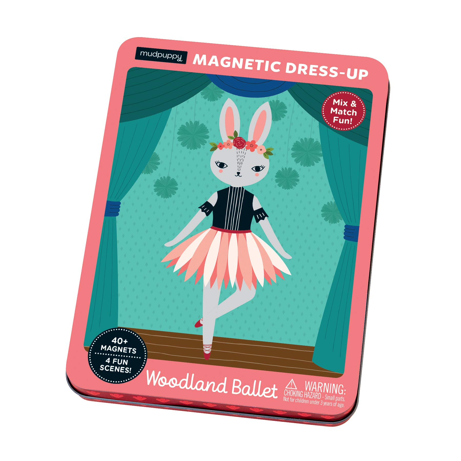 Mudpuppy Woodland Animal Ballerina Magnetic Dress-Up, Multicolor, Ages 4+, 40 Pieces, Great for Travel by Mudpuppy