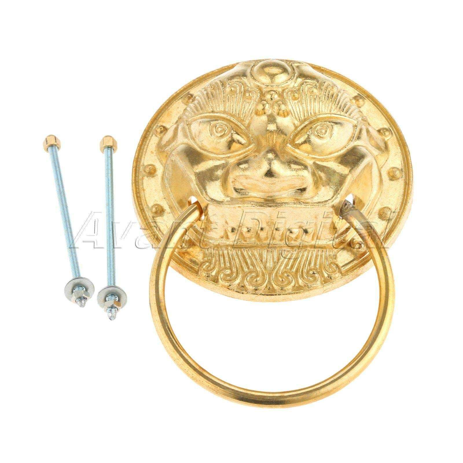 Mercury_Group, Antique Retro Vintage Pulls Knobs, Chinese Brass Hardware Handle Kitchen Lion Head Drop Ring Pull Knocker Knob DIY - (Color: Brass)