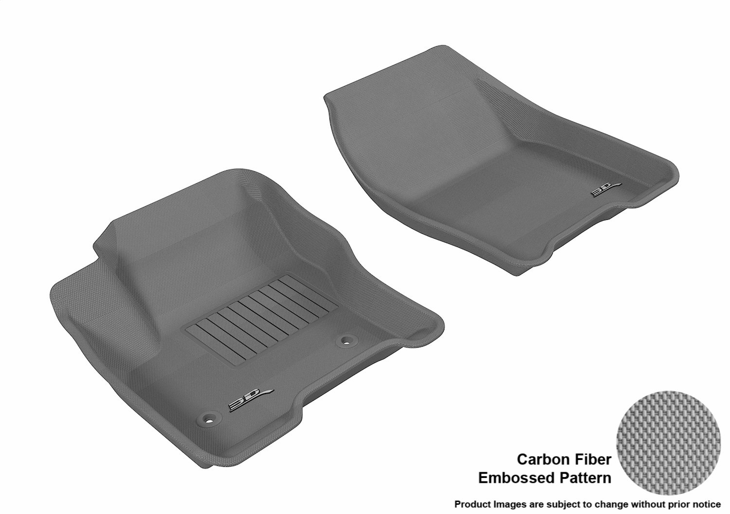 3D MAXpider Front Row Custom Fit All-Weather Floor Mat for Select Ford C-MAX//Escape Models L1FR05611509 Kagu Rubber Black
